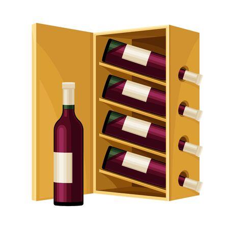 Grape Wine Glass Bottles Standing in Wooden Wine Rack in Cellar  Illustration