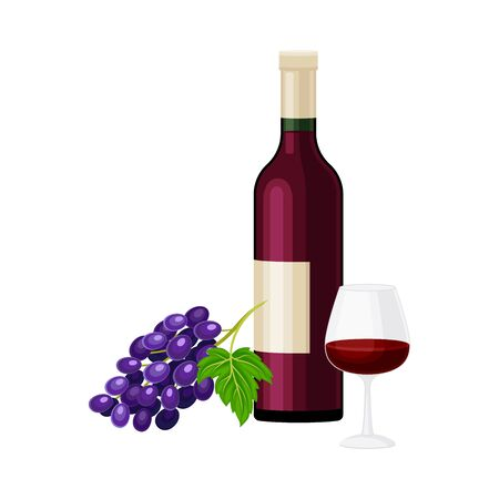 Wine Bottle with Full Glass for Degustation Illustration. Red Alcoholic Drink Production and Distribution