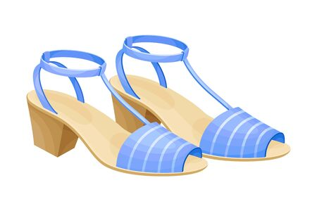 Heeled Open Toe Shoes or Peep-toes with Latchets Illustration. Trendy Women Footwear for Barefoot Wearing