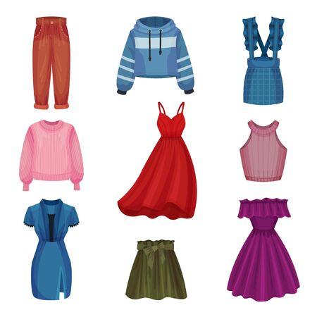 Women Wear with Sleeved Sweatshirt and Dress Set Ilustração Vetorial