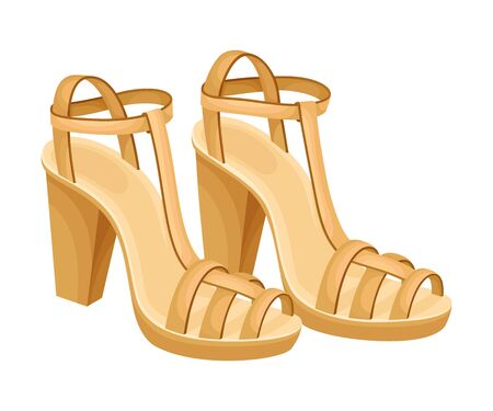 Heeled Open Toe Shoes or Peep-toes with Latchets Illustration. Trendy Women Footwear for Barefoot Wearing 版權商用圖片 - 150432531