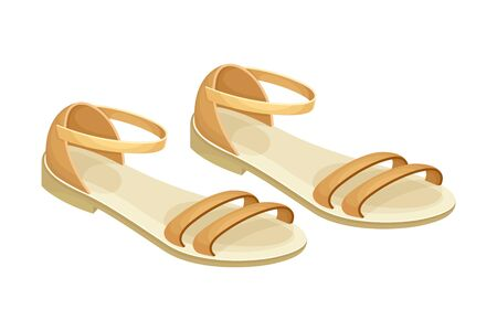 Sandals with Flat Sole and Latchets Vector Illustration Vektorgrafik