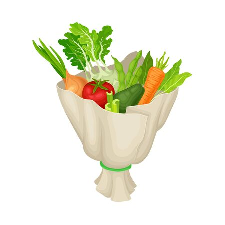 Bunch of Ripe Raw Vegetables Wrapped in Paper Vector Illustration. Unusual and Original Present for Special Festive Event Concept