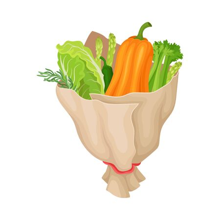 Bouquet of Fresh Vegetables Wrapped in Paper Vector Illustration. Unusual and Original Present for Special Festive Event Concept