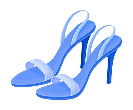 Heeled Open Toe Shoes or Peep-toes with Latchets Vector Illustration. Trendy Womens Footwear for Barefoot Wearing