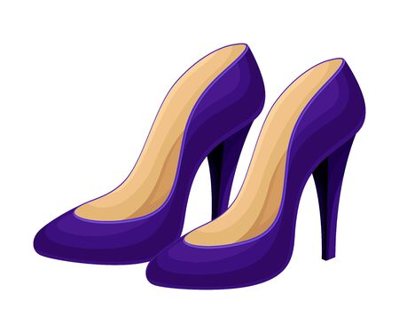 Pair of High Heeled Blue Shoes Isolated on White Background Vector Illustration. Trendy Footwear for Elegant Women Look