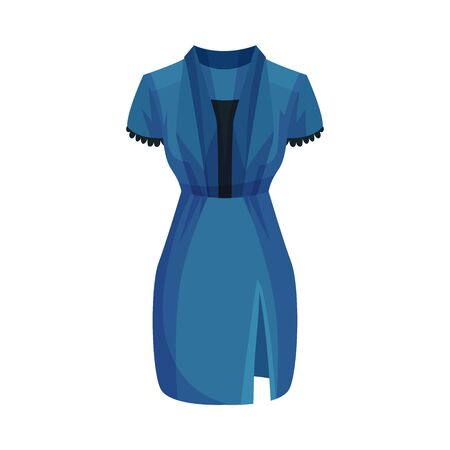 Blue Dress with Short Sleeves and Venthole Vector Illustration. Fashionable Womenswear for Contemporary Look