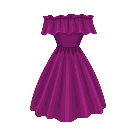 Purple Dress with Cut Away Shoulders and Wide Dress Border Vector Illustration. Fashionable Womenswear for Contemporary Look Stock Illustratie