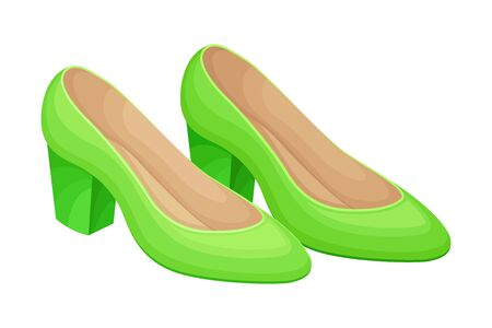 Pair of Casual Green Shoes Isolated on White Background Vector Illustration. Trendy Footwear for Elegant Women Look