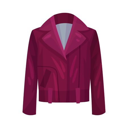 Women Jacket or Blazer with Long Sleeves and Neck Vector Illustration. Fashionable Womenswear for Contemporary Look  イラスト・ベクター素材