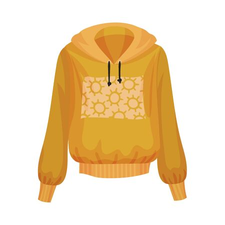 Women Sweatshirt with Hood and Long Sleeves Vector Illustration. Fashionable Womenswear for Contemporary Look  イラスト・ベクター素材