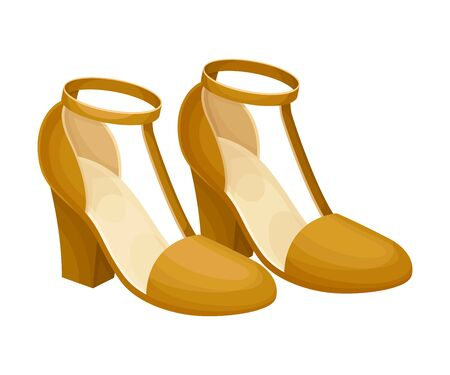 Pair of Heeled Brown Shoes with Latchet Isolated on White Background Vector Illustration. Trendy Footwear for Elegant Women Look 일러스트