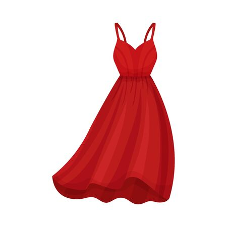 Red Dress with Thin Shoulder Straps and Wide Dress Border Vector Illustration. Fashionable Womenswear for Contemporary Look