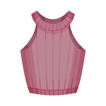 Casual Women Sleeveless Vest with Rounded Neck Vector Illustration. Fashionable Womenswear for Contemporary Look