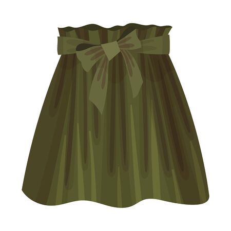 Green Flared Skirt with Bow on Waist Vector Illustration. Fashionable Womenswear for Contemporary Look 일러스트