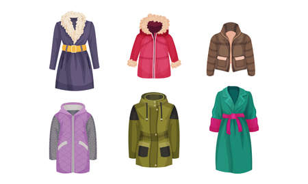 Autumnal and Winter Outerwear with Long Sleeved Clothing Items Vector Set Stock Illustratie