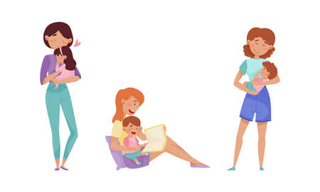 Mother Cradling Child in Arms and Reading Book Vector Illustrations Set Ilustrace