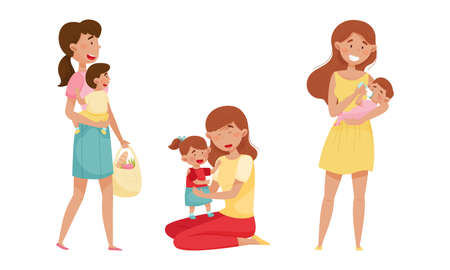 Mother Feeding Child and Playing Vector Illustrations Set
