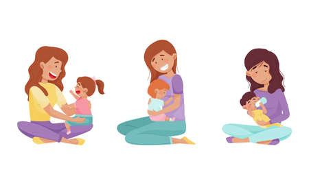 Young Mother Feeding Her Child and Playing Vector Illustrations Set
