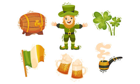 Feast of Saint Patrick Symbols and Attributes with Leprechaun and Trefoil Leaf Vector Set