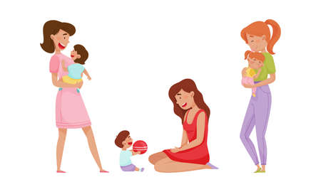 Mother Holding Her Child in Arms and Playing Vector Illustrations Set