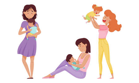 Mother Cradling Child in Arms and Playing Vector Illustrations Set Ilustrace