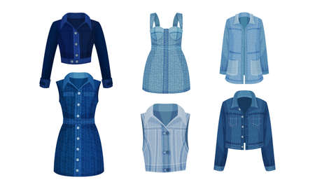 Denim Blue Clothing Items as Womenswear with Denim Jacket and Dress Vector Set