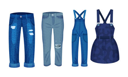 Denim Blue Clothing Items as Womenswear with Denim Jumpsuit and Pair of Jeans Vector Set Vetores