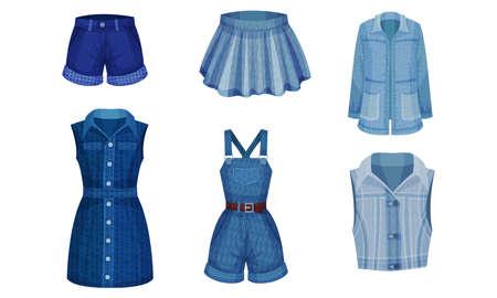Denim Blue Clothing Items as Womenswear with Denim Dress and Skirt Vector Set Çizim
