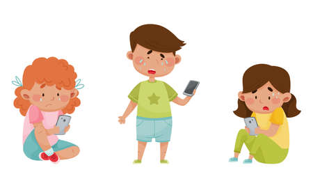 Little Kids with Smartphones and Frustrating Expression on Their Faces Vector Illustrations Set Illustration