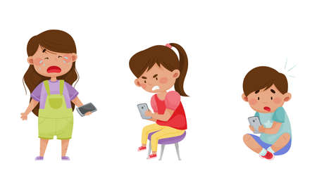 Little Kids with Smartphones and Frustrating Expression on Their Faces Vector Illustrations Set. Boys and Girls Using Cell Phones