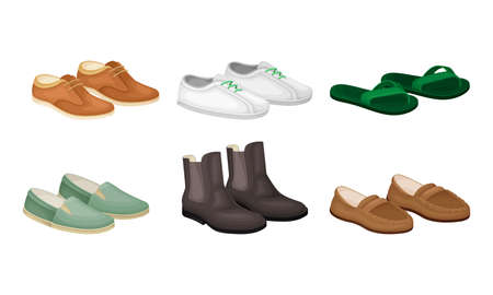 Men Shoes and Loafers Made of Leather and Textile Vector Set Vectores