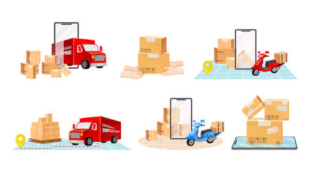 Cardboard Boxes, Truck and Map as Navigation Vector Illustrations Set