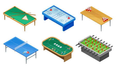 Tables for Board Games with Tennis Table and Billiard Table Vector Set Vecteurs