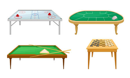 Tables for Board Games with Air Hockey Table and Billiard Table Vector Set Ilustrace