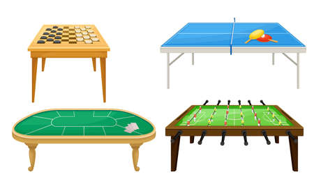 Tables for Board Games with Tennis Table and Foosball Table Vector Set Ilustração