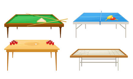 Tables for Board Games with Tennis Table and Beer Pong Table Vector Set Ilustrace