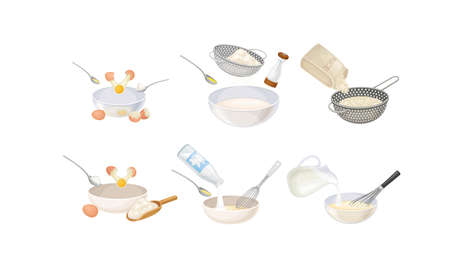 Cooking Process with Rice Sieving and Mixing Ingredients for Baking Vector Set