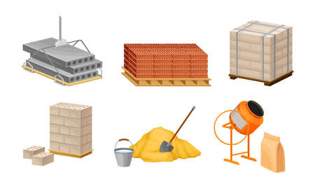 Building and Construction Materials Like Cement and Bricks Vector Set