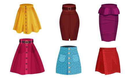 Different Skirt Models with Flared Skirt and Tube Skirt Vector Set