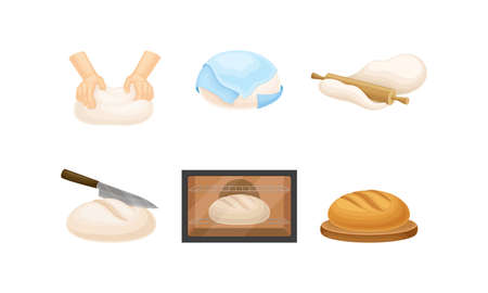 Kneading and Rolling Out Dough for Bread Cooking Vector Set