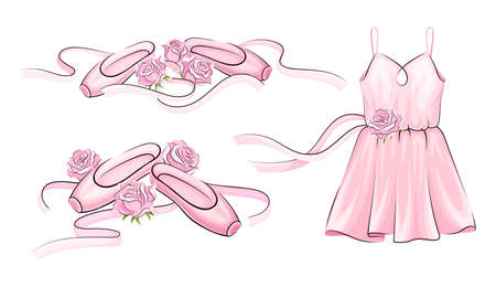 Ballet Accessories with Dress and Pair of Pointe-shoes Vector Set Stock fotó - 150630816