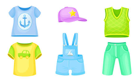 Clothes for Boys with Vest and Sweatshirt Vector Set