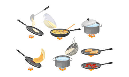Cooking Process with Boiling Rice and Frying Pancakes Vector Set