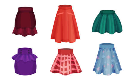 Different Skirt Models with Flared Skirt and Pleated Skirt Vector Set