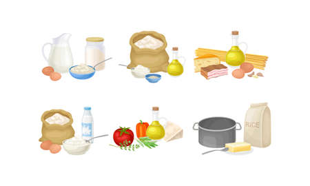 Baking and Cooking Ingredients with Foodstuff and Utensil Vector Set Stock Illustratie