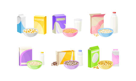 Bowls of Breakfast Cereal with Milk and Yogurt Vector Set