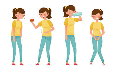Female Character with Symptoms of Diabetes Vector Illustrations Set