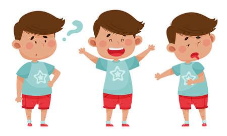 Dark Haired Boy Wearing Red Shorts Showing Different Emotions Vector Illustration