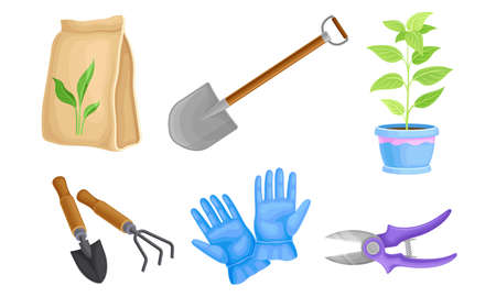 Garden Tools with Rubber Gloves and Ironmongery Vector Set